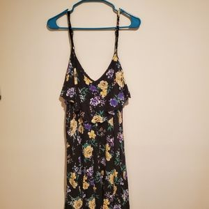 Black skater dress with blue and yellow flowers